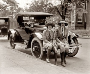 photo of young women and 1922 automobile